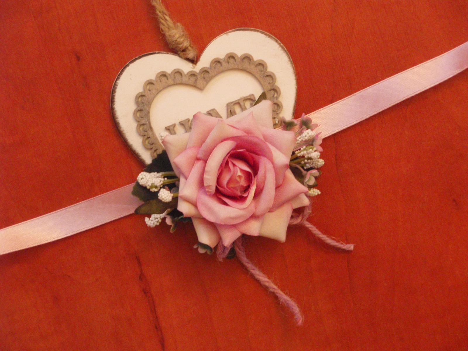 215. Kvetinový náramok - staroružová ruža - Obrázok č. 1
