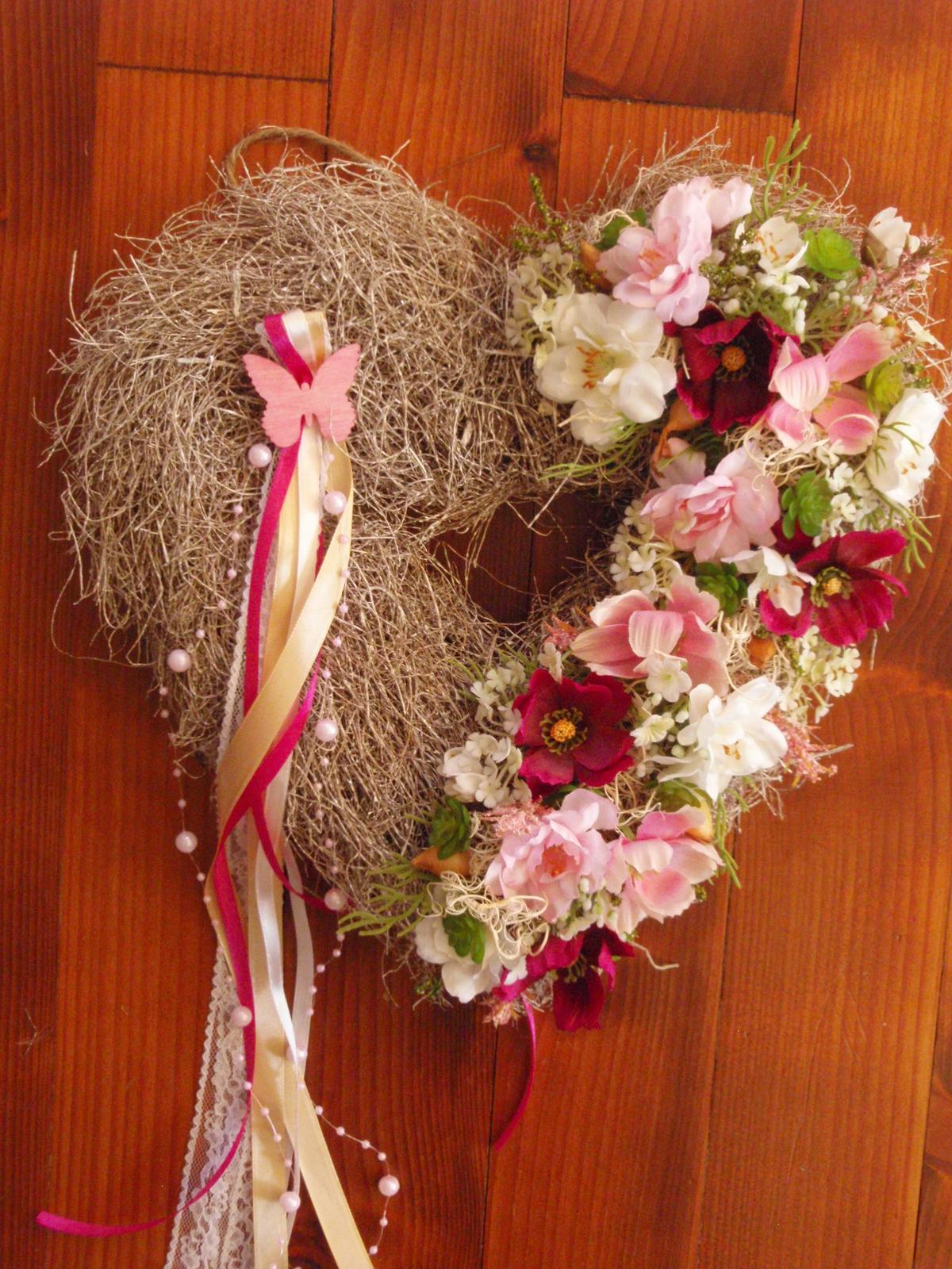 236. Srdce ružovo-cyklamenové 32cm - Obrázok č. 1