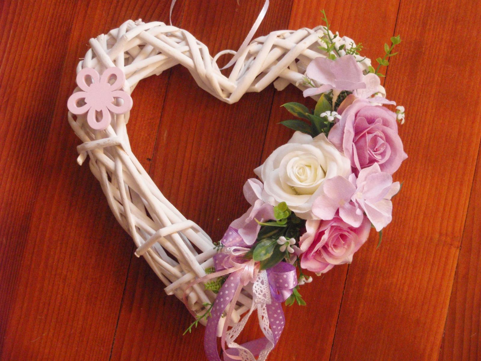 237. Srdce ružovo-fialkové s kvietkom 25cm - Obrázok č. 1