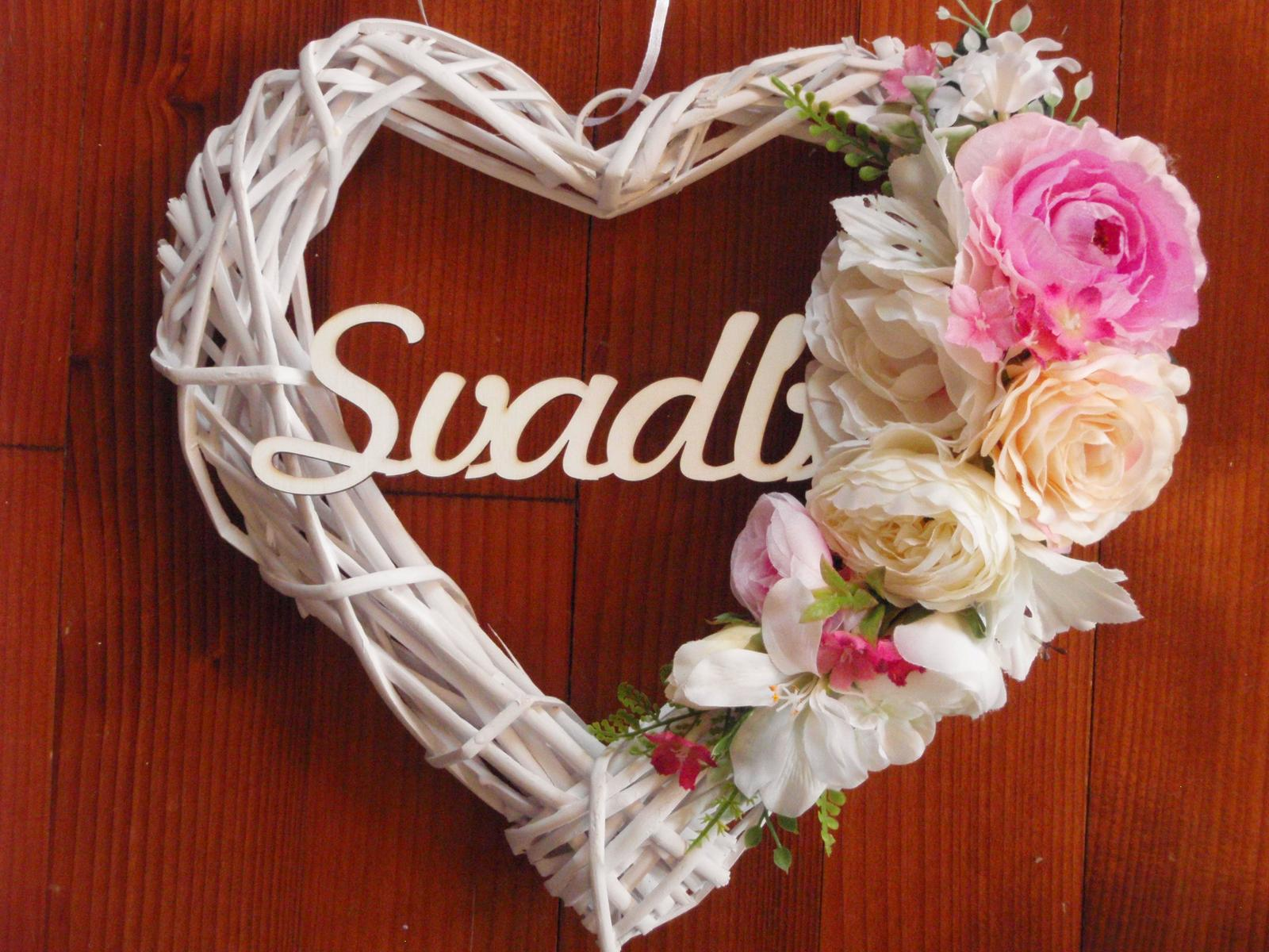 252. Svadobné srdce pink, cyklamen 32cm s nápisom - Obrázok č. 1