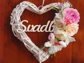 252. Svadobné srdce pink, cyklamen 32cm s nápisom,