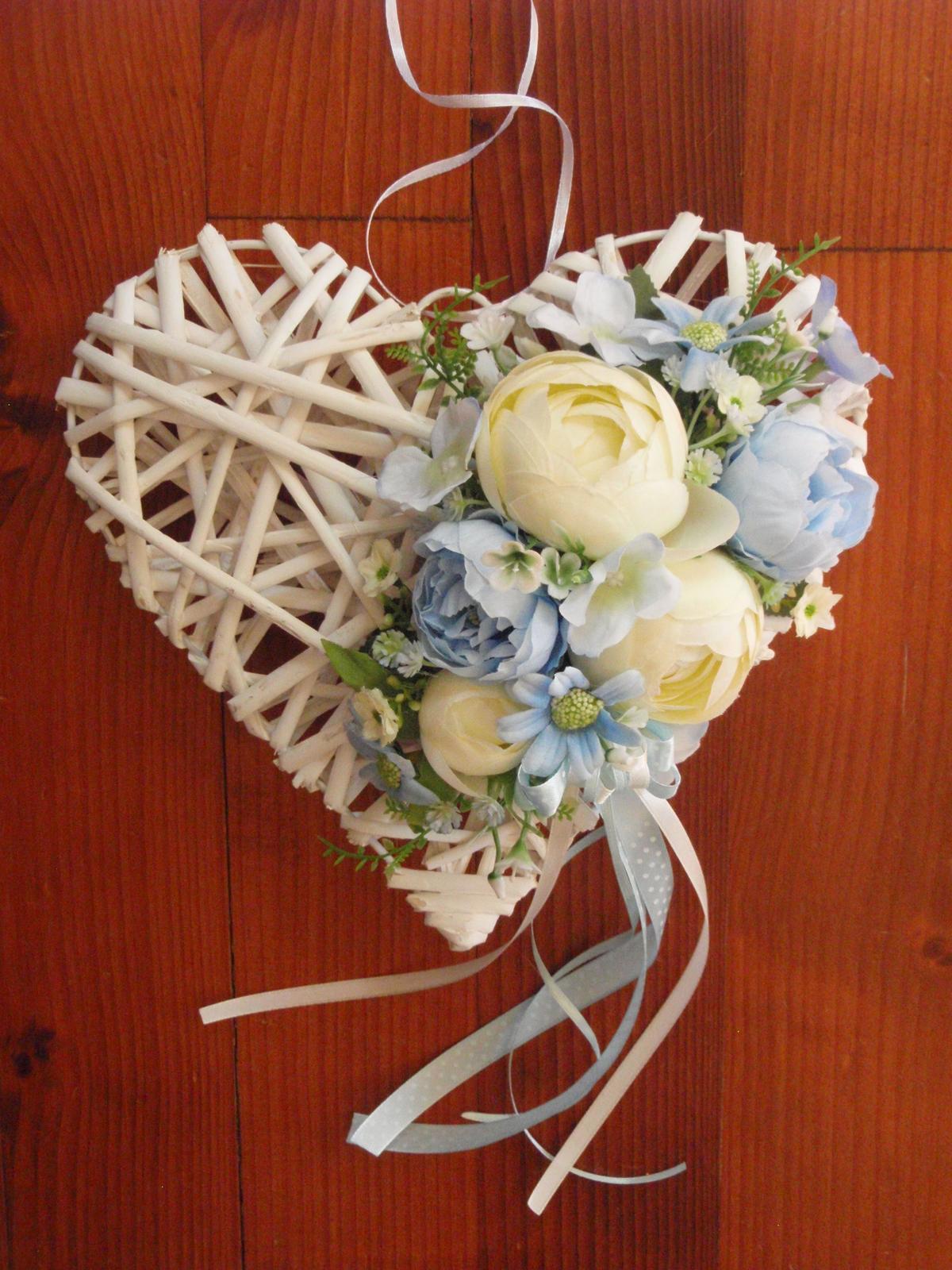 272. Modro-ivory srdce 25cm - Obrázok č. 1