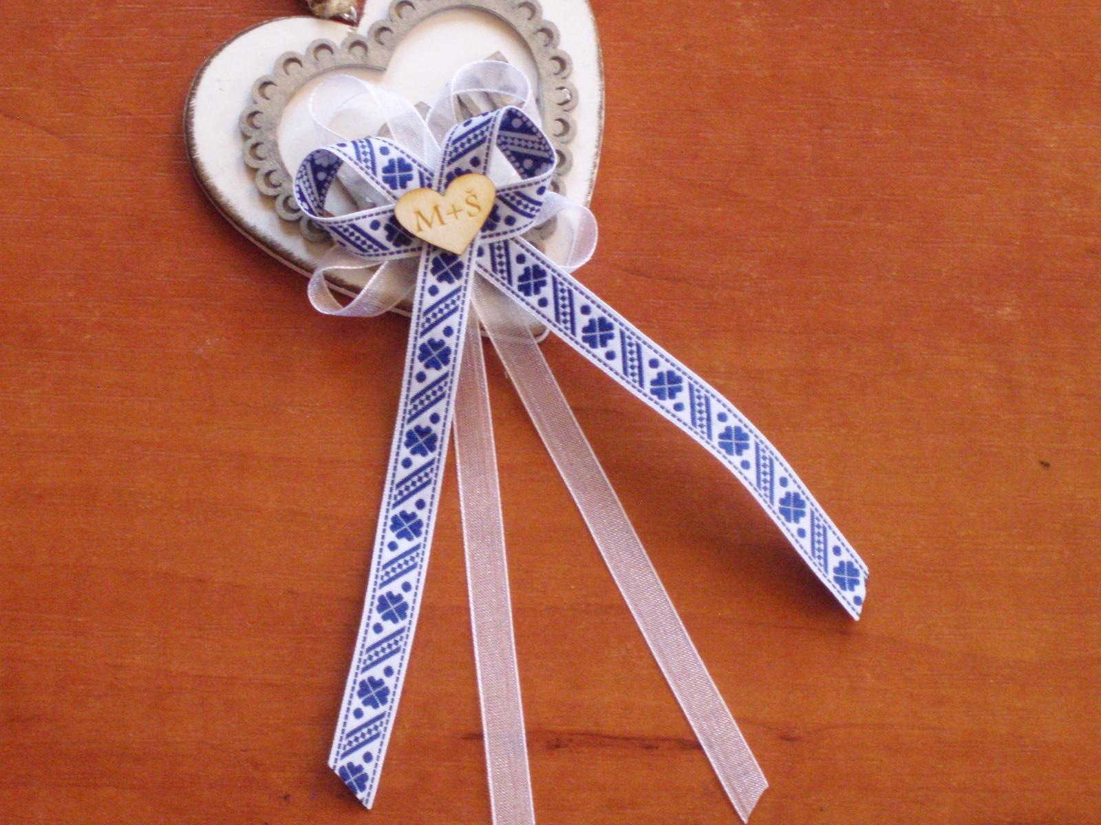 320. Folklórne veľké pierka v modrom s iniciálmi - Obrázok č. 1