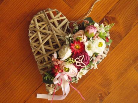 340. Prírodné kvetinové srdce 25cm - Obrázok č. 1