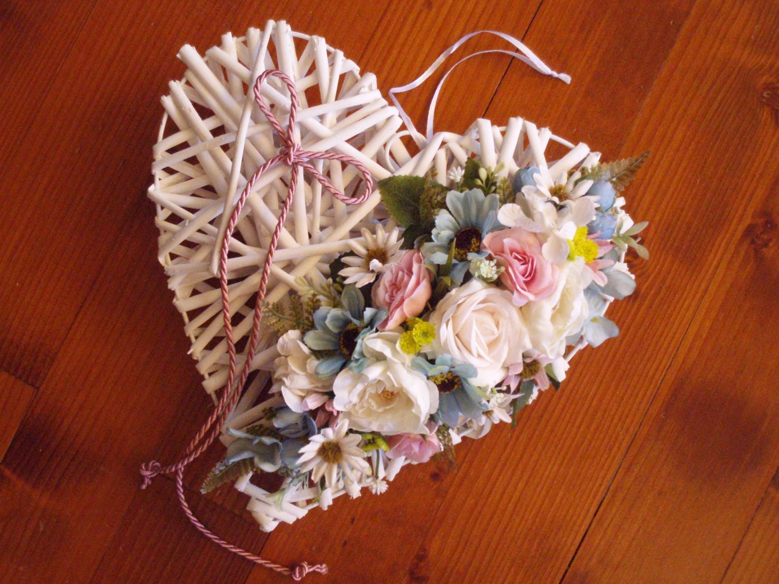 347. Srdce pink, tyrkys, ivory s mašlou 30cm  - Obrázok č. 1