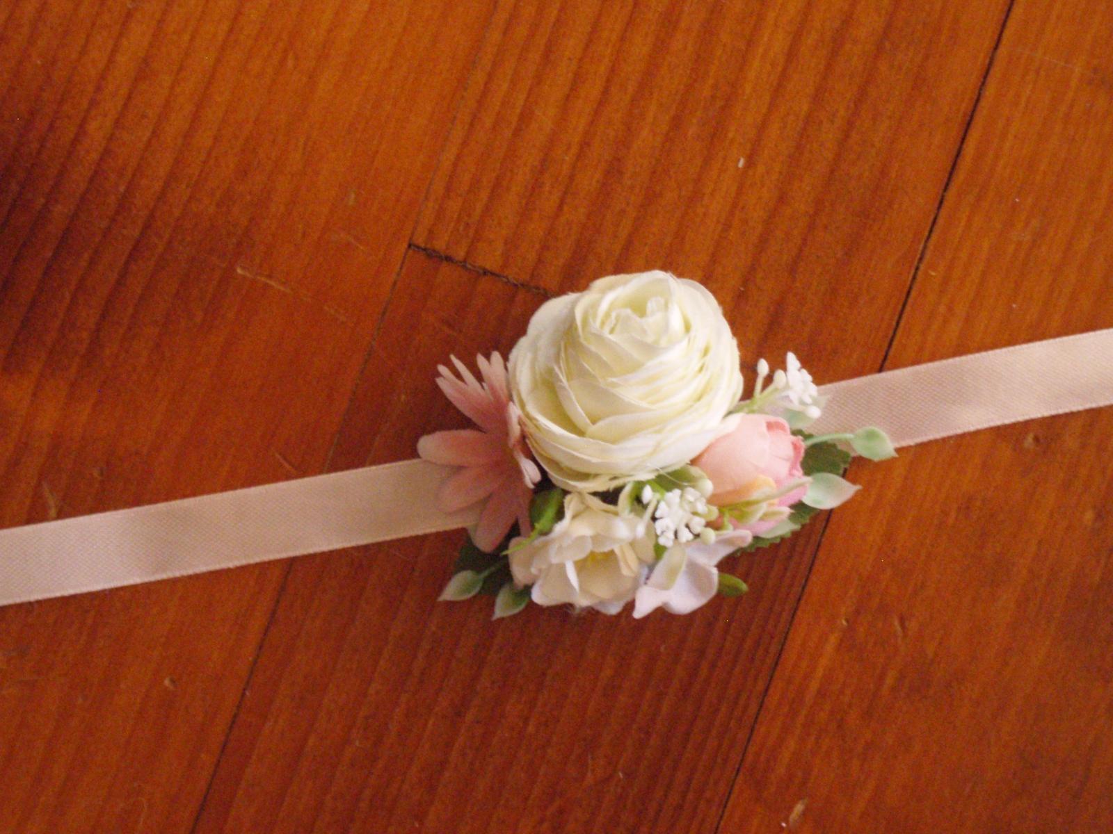 398. Ružovo-biely menší náramok - Obrázok č. 1