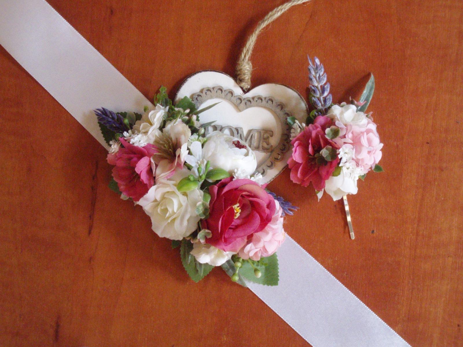 411. Ružovo-cyklamenový kvetinový opasok - Obrázok č. 1