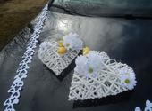 Svatební dekorace,výzdoba auta-ratanové srdce 2ks,