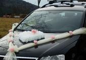 Svatební dekorace, výzdoba na auto nevěsty - srdce,
