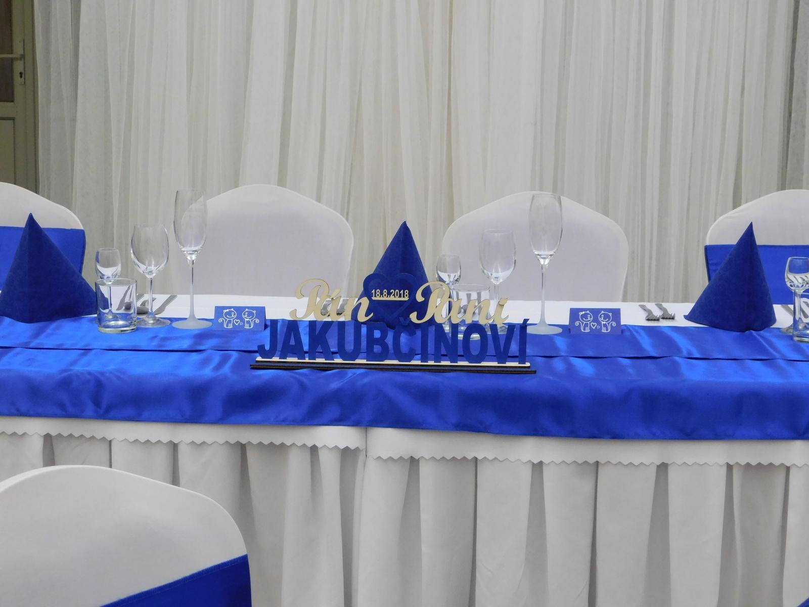 Janka{{_AND_}}Peťko - Menovka so spoločným priezviskom na náš hlavný svadobný stôl..plus naše svadobné poháre a menovky so vzorom mačiek:)