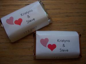 naše mini čokoládky jako dárečky pro hosty