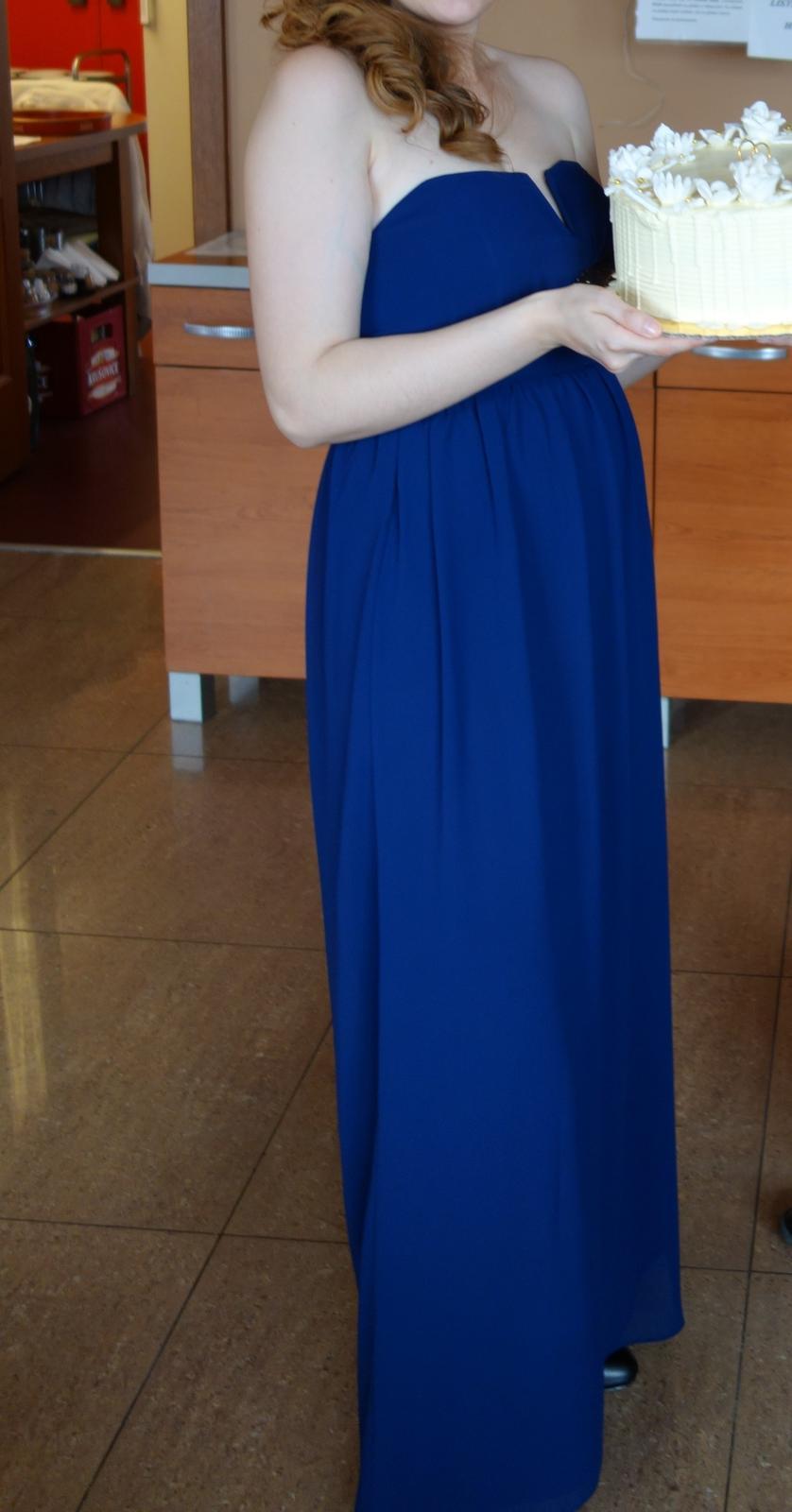 Modré popolnočné šaty vo veľkosti 36 - Obrázok č. 2