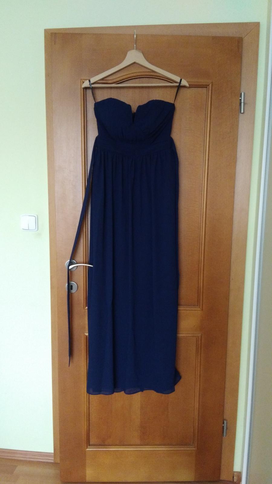 Modré popolnočné šaty vo veľkosti 36 - Obrázok č. 3