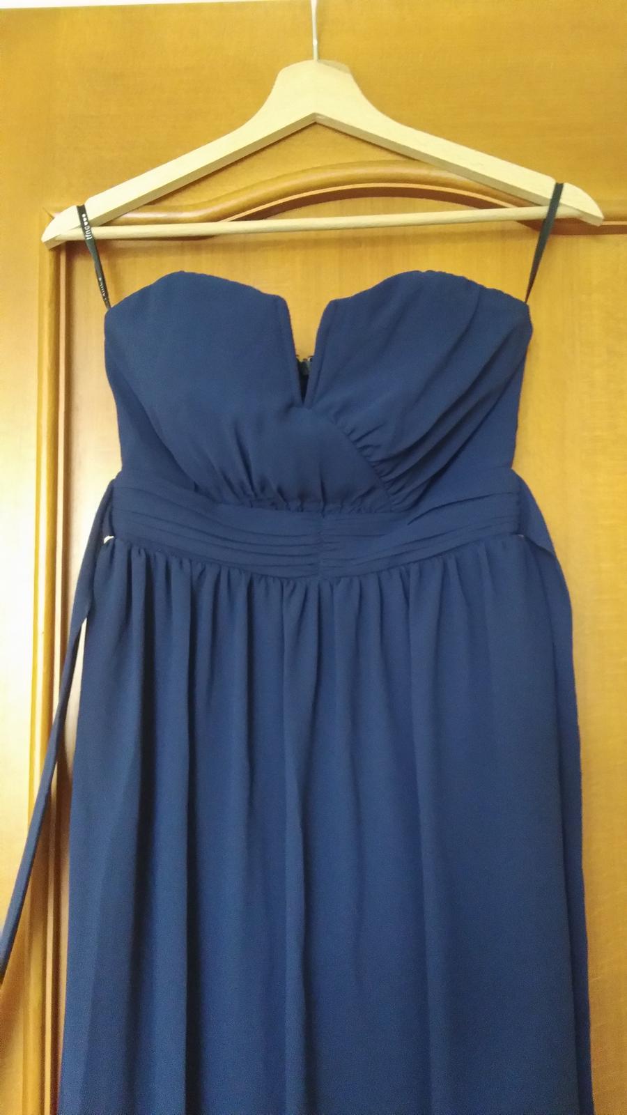 Modré popolnočné šaty vo veľkosti 36 - Obrázok č. 4