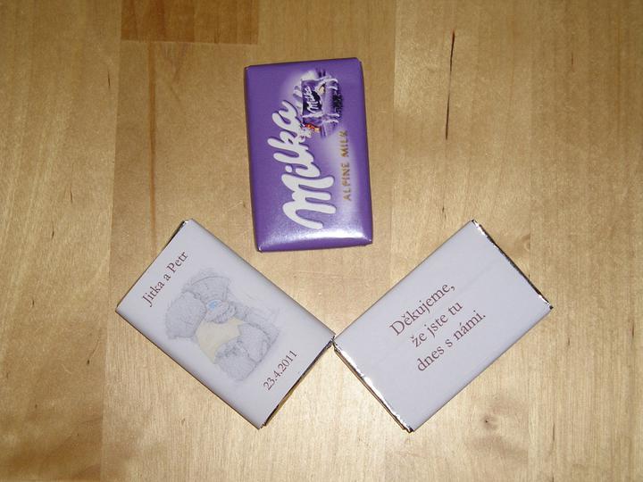 Co už máme :-) - Děkovací čokoládky.