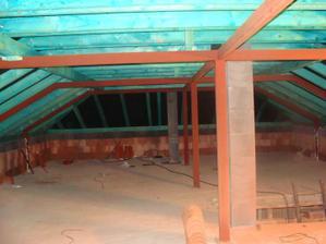 a takto to vyzeralo v podkroví po dokončení strechy