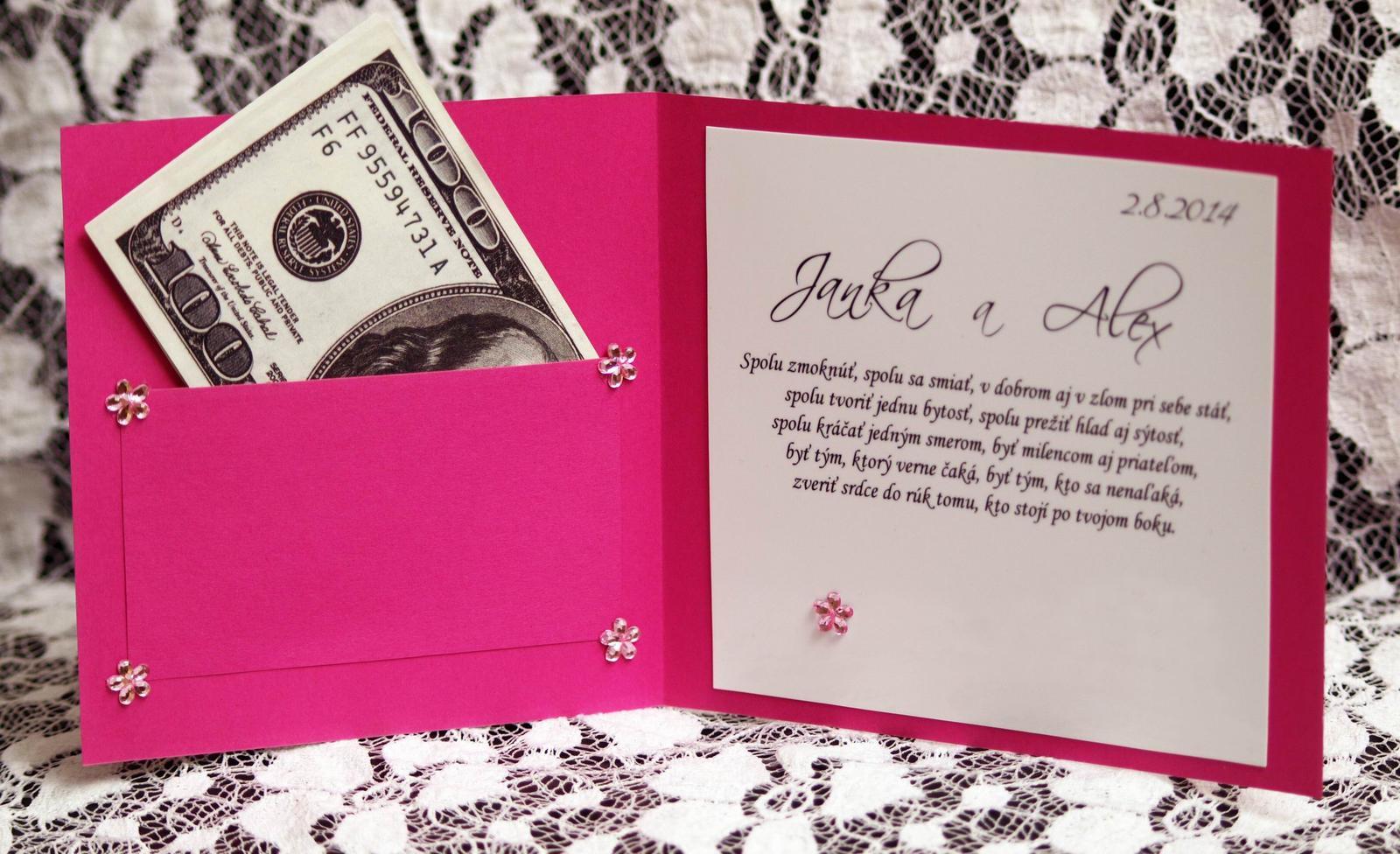 Darovať originál - Gratulačná pohladnica/karta - majú svadbu v ciklaménovej farbe