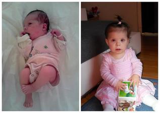 Co k této fotografii dodat? ..... Elinka dnes oslavila svůj první roček. Už to není ten malinký spící bezmocný uzlíček, ale je to už veliká šikovná holčička, se kterou je spousta legrace a zábavy a všichni jí moc milujeme :-*