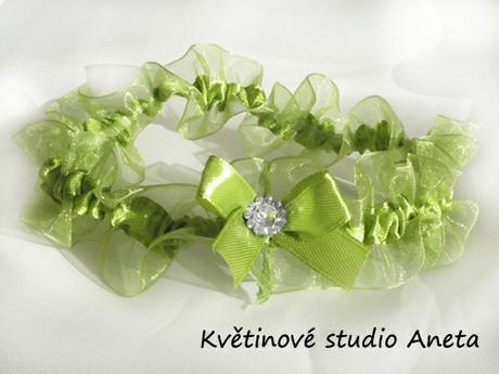 Svatební podvazek LUX zelené jablko - Obrázek č. 1