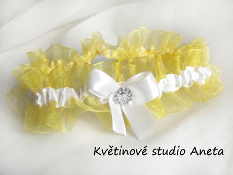 Svatební podvazek LUX žlutý - Obrázek č. 1