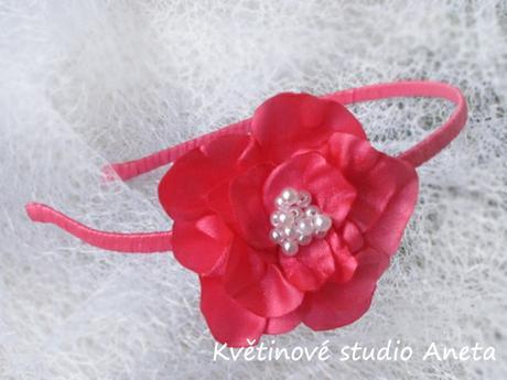 Čelenka se saténovým květem fuchsiová - Obrázek č. 1