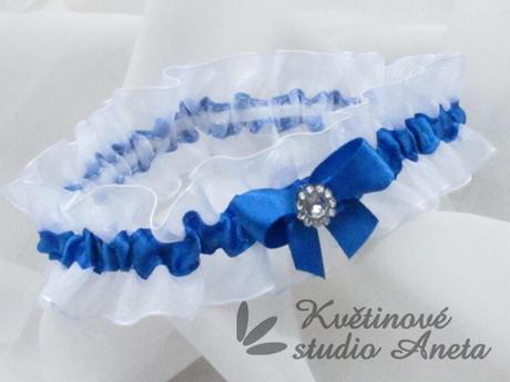 Luxusní svatební podvazek modrý královsky - Obrázek č. 1