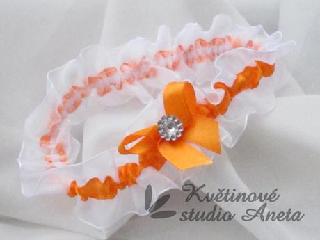 Luxusní svatební podvazek oranžový - Obrázek č. 1