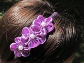 Čelenka fialová 3 květy,