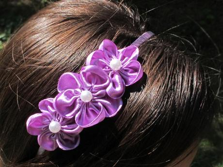 Čelenka fialová 3 květy - Obrázek č. 1