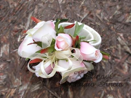 Svatební náramek smetana/růžová z růží - Obrázek č. 1