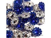 Štrasové květinky tmavě modré,