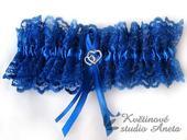 Krajkový podvazek královsky modrý, 38