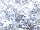 Vývazky, svatební mašlička trojitá bílá+stříbrná,