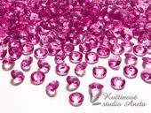 Akrylové diamanty růžové tmavě 100ks,