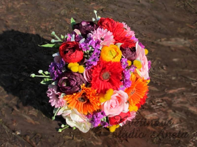 Svatební kytice letní z umělých květů - Obrázek č. 1