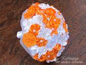 Svatební kytice saténová oranžová,