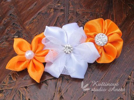 Svatební kytice saténová oranžová - Obrázek č. 2