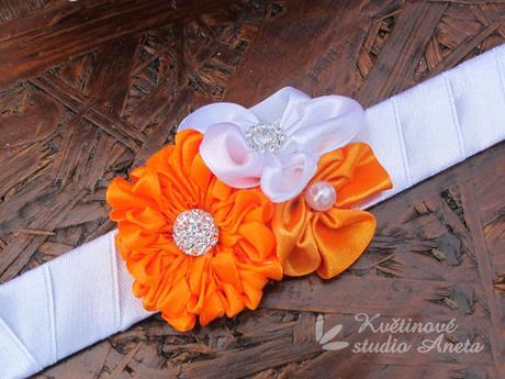 Svatební kytice saténová oranžová - Obrázek č. 3
