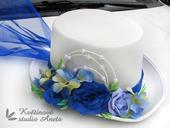 Cylindr na svatební vůz bílo modrý,