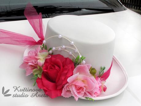 Cylindr na svatební vůz bílo fuchsiový - Obrázek č. 1