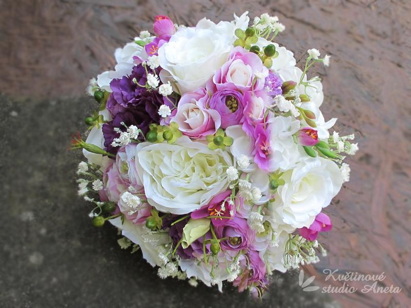 Svatební kytice Romantic Flowers fialová - Obrázek č. 1