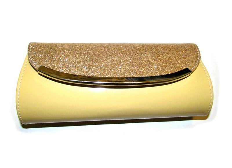 Béžové zlaté třpytivé psaníčko - Obrázek č. 1