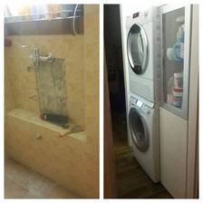 """""""Předkoupena"""" Před a Po (vedle pračky z druhé strany taky ještě přijde uzounká skříňka)"""