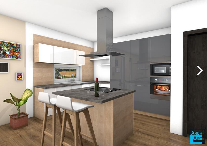 Interiérový dizajn kuchyne s obývačkou - Obrázok č. 1