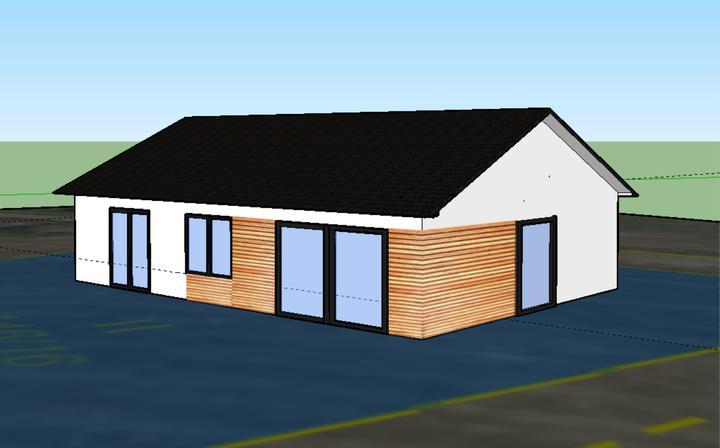 Finální návrh obložení, rozměrů a tvaru oken. Chceme nakonec dřevo do oranžova.
