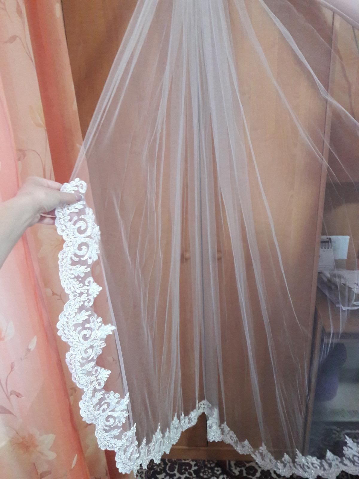 Svadobný závoj ivory so španielskou čipkou - Obrázok č. 3