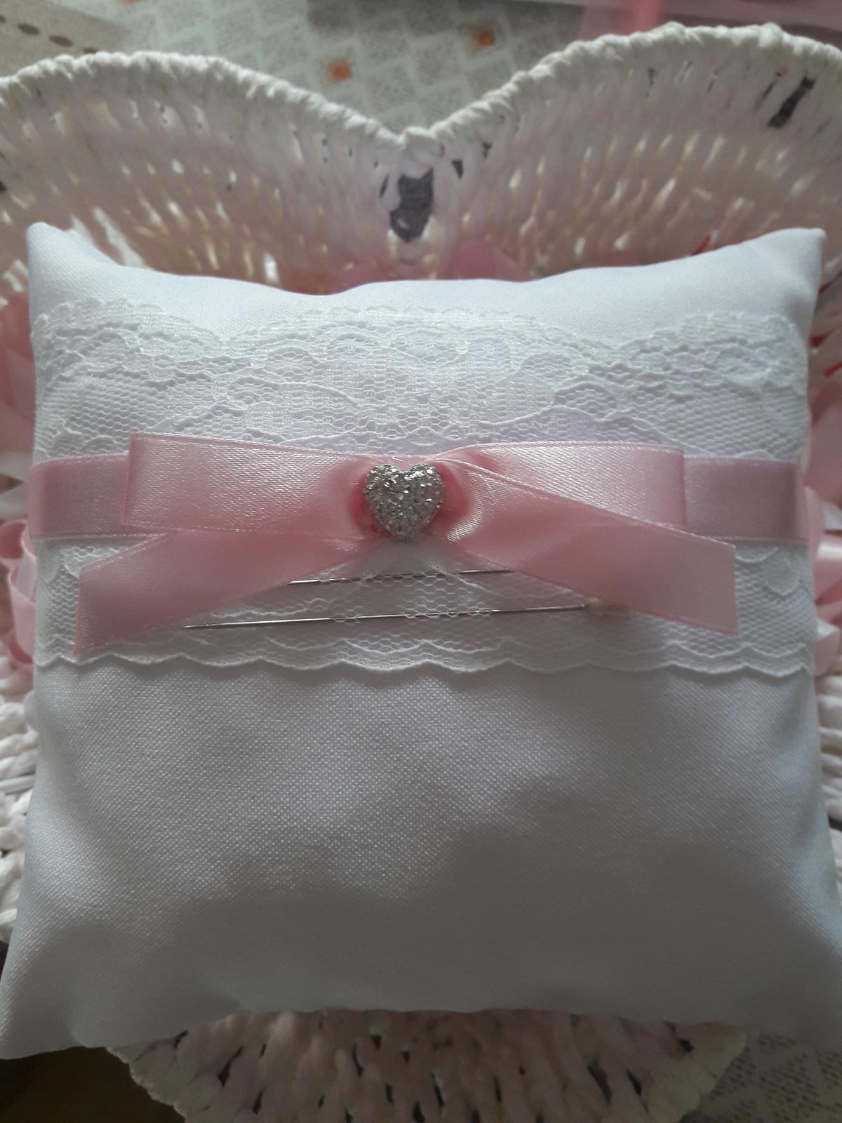 Vankúšik na obrúčky-  pastelová ružová / babypink - Obrázok č. 1