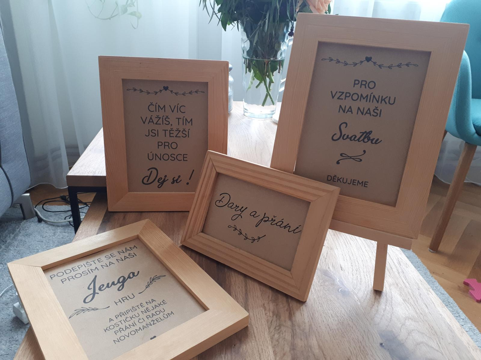 Tabulky s nápisy na svatbu - Obrázek č. 1
