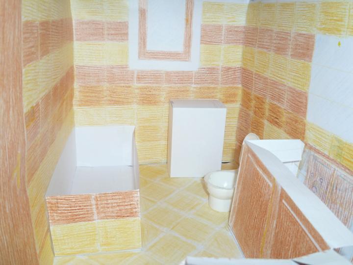 Energeticky pasívna drevostavba svojpomocou - Maketa dolnej kúpeľne.