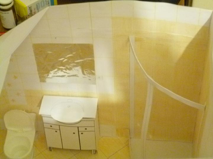 Energeticky pasívna drevostavba svojpomocou - Maketa kúpeľne v podkroví.